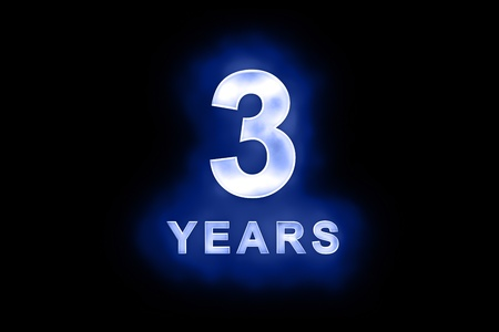 mottled: 3 Years in glowing white numbers and text with a mottled patterning on blue background suitable for a birthday, celebration or anniversary
