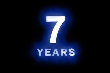 seventh: 7 Years in glowing white numbers and text with a mottled patterning on blue background suitable for a birthday, celebration or anniversary