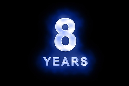 8 Years in glowing white numbers and text with a mottled patterning on blue background suitable for a birthday, celebration or anniversary Stock Photo - 13588427