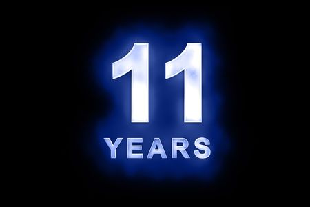 eleventh birthday: 11 Years in glowing white numbers and text with a mottled patterning on blue background suitable for a birthday, celebration or anniversary