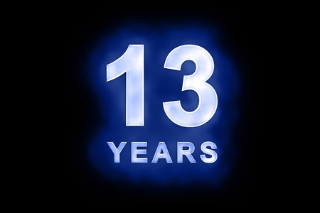 dedicate: 13 Years in glowing white numbers and text with a mottled patterning on blue background suitable for a birthday, celebration or anniversary