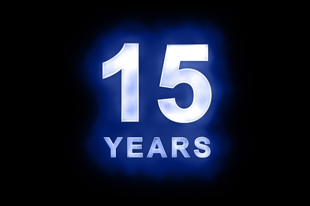 15 Years in glowing white numbers and text with a mottled patterning on blue background suitable for a birthday, celebration or anniversary photo