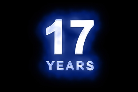seventeenth: 17 Years in glowing white numbers and text with a mottled patterning on blue background suitable for a birthday, celebration or anniversary