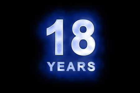 dedicate: 18 Years in glowing white numbers and text with a mottled patterning on blue background suitable for a birthday, celebration or anniversary