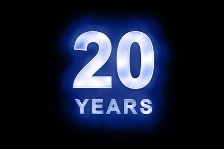 commemoration: 20 Years in glowing white numbers and text with a mottled patterning on blue background suitable for a birthday, celebration or anniversary Stock Photo