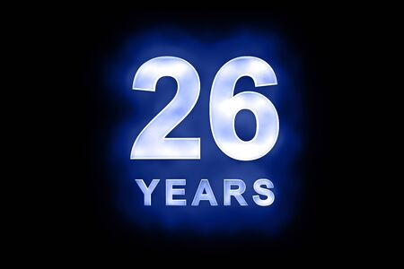 26th: 26 Years in glowing white numbers and text with a mottled patterning on blue background suitable for a birthday, celebration or anniversary