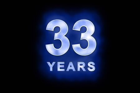 mottled: 33 Years in glowing white numbers and text with a mottled patterning on blue background suitable for a birthday, celebration or anniversary