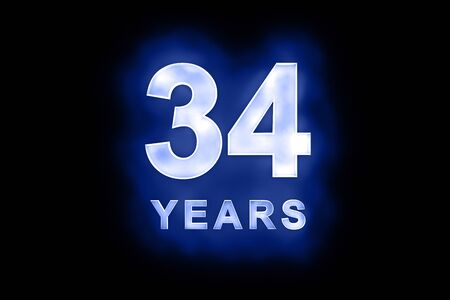 34: 34 Years in glowing white numbers and text with a mottled patterning on blue background suitable for a birthday, celebration or anniversary Stock Photo