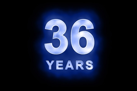 36: 36 Years in glowing white numbers and text with a mottled patterning on blue background suitable for a birthday, celebration or anniversary