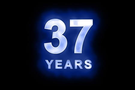 mottled: 37 Years in glowing white numbers and text with a mottled patterning on blue background suitable for a birthday, celebration or anniversary Stock Photo