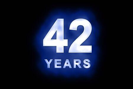 생일, 축하 또는 기념일에 적합한 파란색 배경에 얼룩덜룩 한 무늬가있는 빛나는 흰색 숫자와 텍스트 42 년
