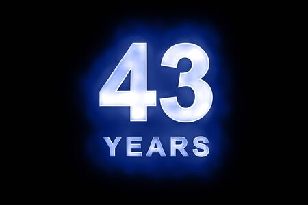 43 Years in glowing white numbers and text with a mottled patterning on blue background suitable for a birthday, celebration or anniversary Stock Photo - 13588393