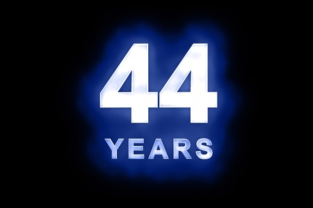 dedicate: 44 Years in glowing white numbers and text with a mottled patterning on blue background suitable for a birthday, celebration or anniversary