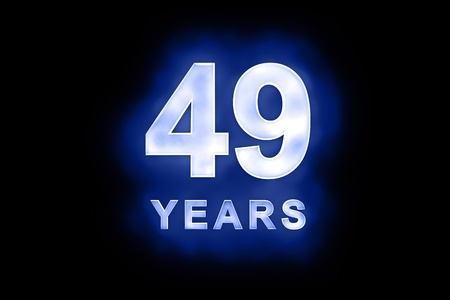 mottled: 49 Years in glowing white numbers and text with a mottled patterning on blue background suitable for a birthday, celebration or anniversary card or invitation