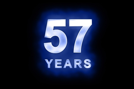 57: 57 Years in glowing white numbers and text with a mottled patterning on blue background suitable for a birthday, celebration or anniversary card or invitation