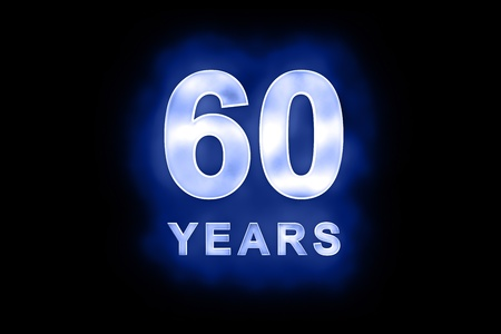 dedicate: 60 Years in glowing white numbers and text with a mottled patterning on blue background suitable for a birthday, celebration or anniversary card or invitation