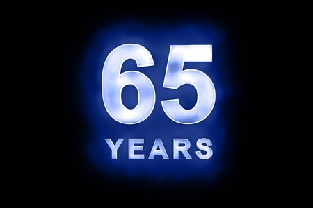 65th: 65 Years in glowing white numbers and text with a mottled patterning on blue background suitable for a birthday, celebration or anniversary card or invitation