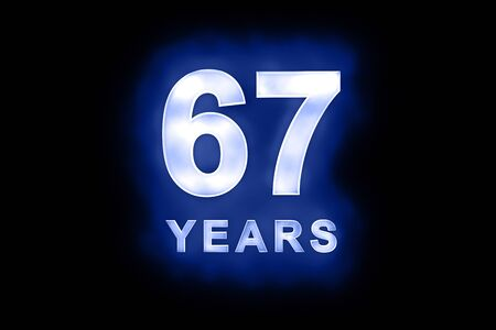 67 years in glowing white numbers and text with a mottled patterning on blue background suitable for a birthday, celebration or anniversary card or invitation Stock Photo - 13588390