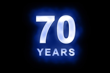 seventieth: 70 years in glowing white numbers and text with a mottled patterning on blue background suitable for a birthday, celebration or anniversary card or invitation
