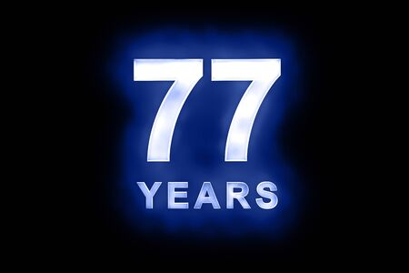 mottled: 77 years in glowing white numbers and text on blue background with a mottled patterning suitable for a birthday, celebration or anniversary card or invitation