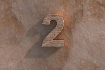honouring: Number 2 embossed or carved from marble placed on a matching marble base