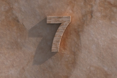 honouring: Number 7 embossed or carved from marble placed on a matching marble base