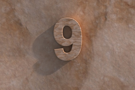 honouring: Number 9 embossed or carved from marble placed on a matching marble base Stock Photo