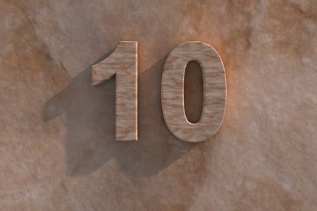 tenth: Number 10 embossed or carved from marble placed on a matching marble base Stock Photo
