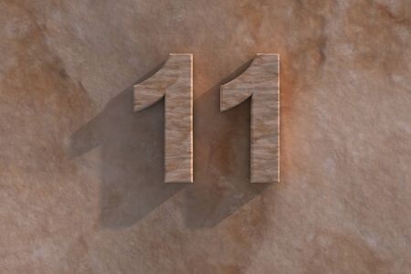 11 number: Number 11 embossed or carved from marble placed on a matching marble base