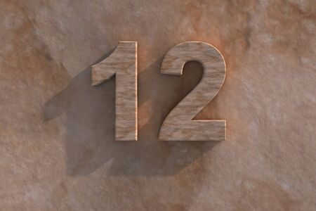 number 12: Number 12 embossed or carved from marble placed on a matching marble base Stock Photo