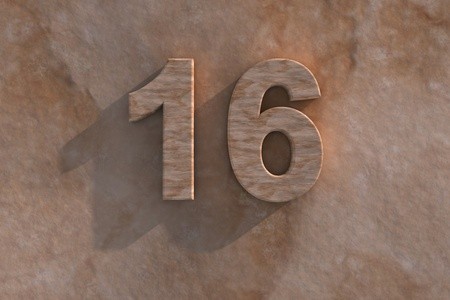 Number 16 embossed or carved from marble placed on a matching marble base Stock Photo - 13588158