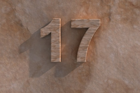 honouring: Number 17 embossed or carved from marble placed on a matching marble base