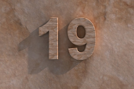 Number 19 embossed or carved from marble placed on a matching marble base Stock Photo - 13588155