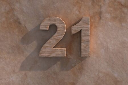 honouring: Number 21 embossed or carved from marble placed on a matching marble base