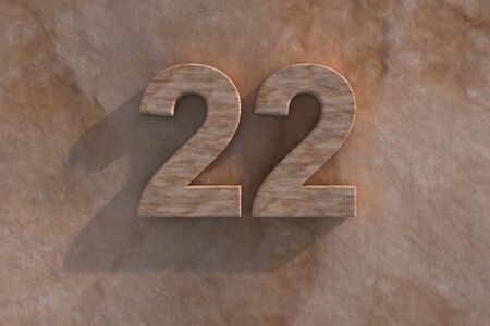honouring: Number 22 embossed or carved from marble placed on a matching marble base Stock Photo