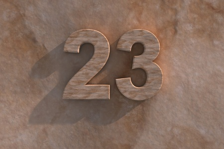 third birthday: Number 23 embossed or carved from marble placed on a matching marble base Stock Photo