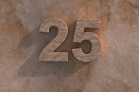 25th: Number 25 embossed or carved from marble placed on a matching marble base
