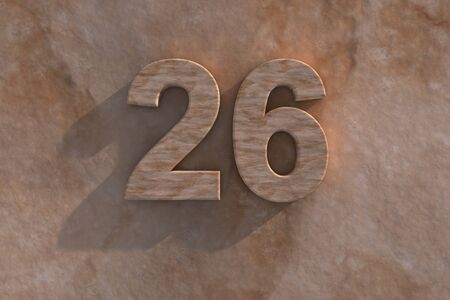 sixth birthday: Number 26 embossed or carved from marble placed on a matching marble base Stock Photo