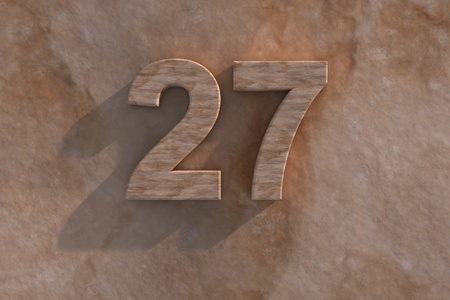 honouring: Number 27 embossed or carved from marble placed on a matching marble base
