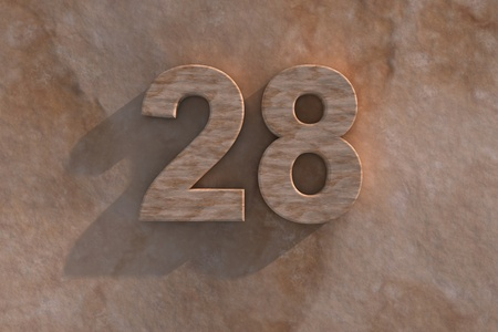 honouring: Number 28 embossed or carved from marble placed on a matching marble base Stock Photo