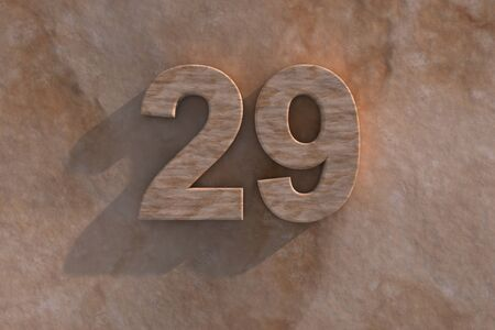 honouring: Number 29 embossed or carved from marble placed on a matching marble base