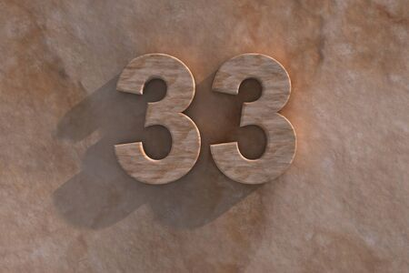 third birthday: Number 33 embossed or carved from marble placed on a matching marble base Stock Photo