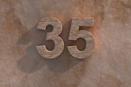 35th: Number 35 embossed or carved from marble placed on a matching marble base