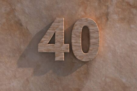 Number 40 embossed or carved from marble placed on a matching marble base Stock Photo - 13588130