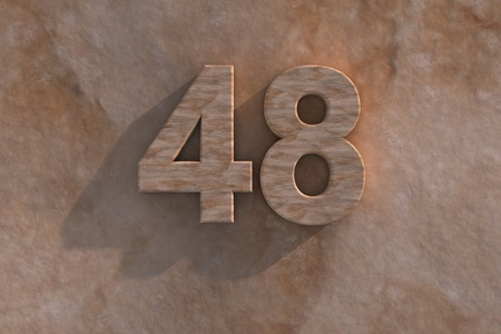 48: 3d rendered illustration of an ornamental 48 in numerals in mottled sandstone on a rough textured wall with shadow