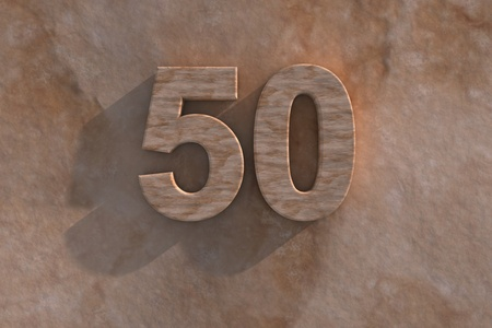 number 50: El n�mero 50 grabado o tallado de m�rmol colocada en una base de m�rmol a juego