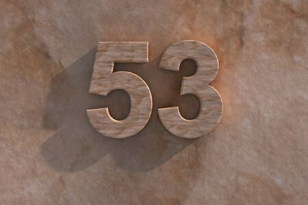 third birthday: The number 53 embossed or carved from marble placed on a matching marble base