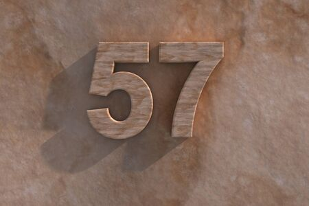 57: The number 57 embossed or carved from marble placed on a matching marble base