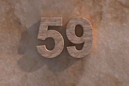 The number 59 embossed or carved from marble placed on a matching marble base Stock Photo - 13588043