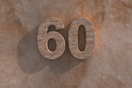 60th: The number 60 embossed or carved from marble placed on a matching marble base Stock Photo